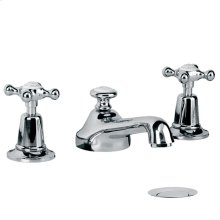 Classic three hole basin mixer with Connaught handwheels and pop-up waste