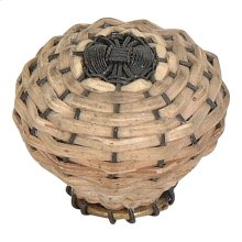 Bamboo Wire Weaved Knob 1 1/2 Inch - Aged Bronze