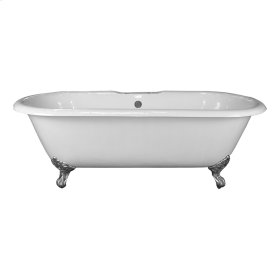 """Columbus 61"""" Cast Iron Double Roll Top Tub - 7"""" Centers in Tub Deck - Polished Nickel"""