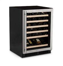 "24"" High Efficiency Single Zone Wine Cellar - Panel Overlay Frame Ready Glass Door - Integrated Left Hinge - Floor Model"