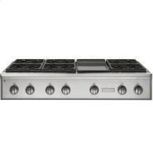 """GE Monogram® 48"""" Professional Gas Rangetop with 6 Burners and Griddle (Natural Gas)"""