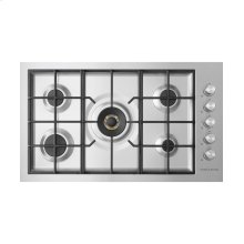 "Gas on Steel Cooktop 36"" 5 Burner, Flush Fit (LPG)"
