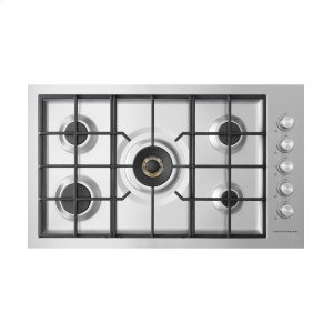 "Fisher & PaykelGas on Steel Cooktop 36"" 5 Burner, Flush Fit (LPG)"