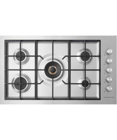 "Gas on Steel Cooktop 36"" 5 Burner, Flush Fit (LPG) Product Image"