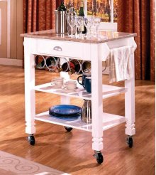 White Caster / Marble Kitchen Island