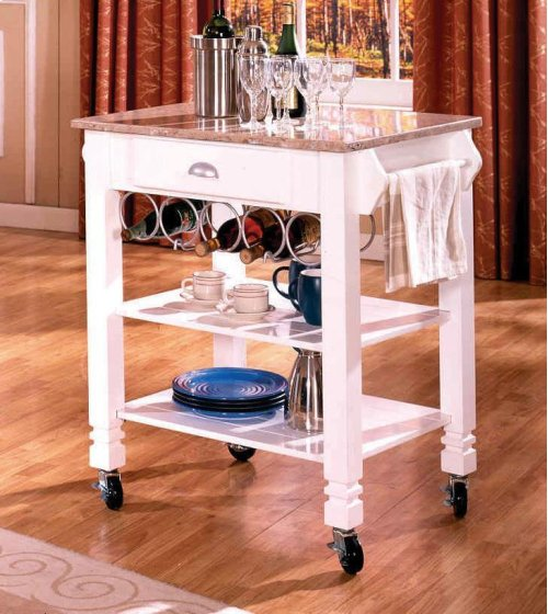 Oak Caster / Marble Kitchen Island