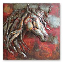 Red Stallion 40x40 Metal Art