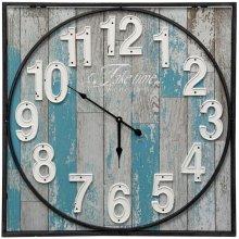 Wooden & Metal Wall Clock  23in X 23in X 2in