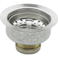 """Dayton 3-1/2"""" Stainless Steel Drain with Removable Basket Strainer and Rubber Stopper"""