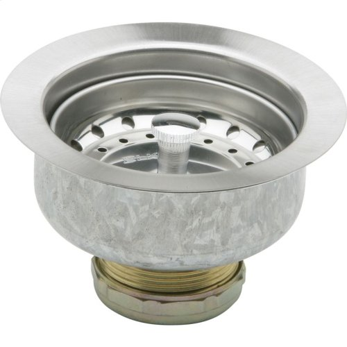 """Dayton 3-1/2"""" Stainless Steel Drain with Removable Basket Strainer and Rubber Stopper (sold in multiples of 36)"""