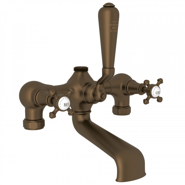 English Bronze Perrin & Rowe Georgian Era Exposed Tub/Shower Mixer Valve with Georgian Era Cross Handle