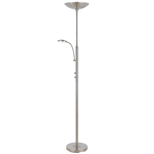 38W LED Torchiere With Reading Lamp