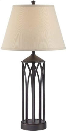Table Lamp, Antique Black/fabric Shade, E27 Cfl 23w