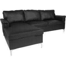 Boylston Upholstered Plush Pillow Back Sectional with Left Side Facing Chaise in Black Leather