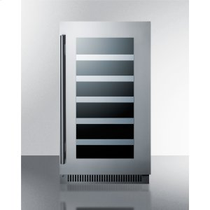 """Summit18"""" Wide Built-in Wine Cellar With Seamless Stainless Steel Trimmed Glass Door and Stainless Steel Wrapped Cabinet"""