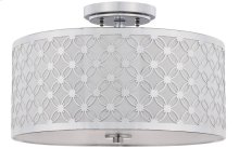 Hutch 3 Light 16-inch Dia Chrome Flush Mount - Chrome Shade Color: Off-White