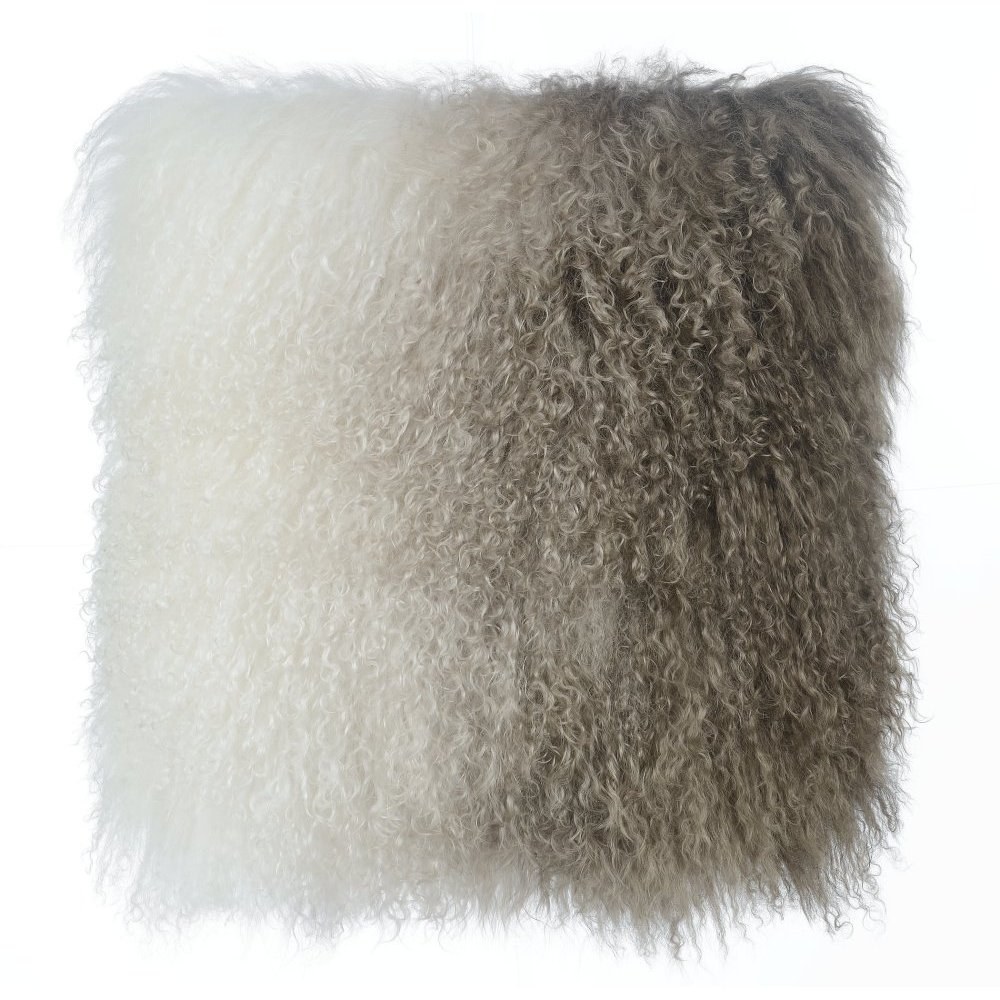 Tibetan Sheep Pillow White to Brown