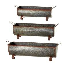 Rusted Galvanized Trough Planters (3 pc. set)