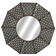 Round Galvanized Slot Windmill Wall Mirror.