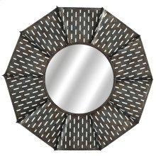 Round Galvanized Slot Windmill Wall Mirror.