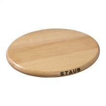 "Staub Cast Iron 9"" Oval Magnetic Wood Trivet"