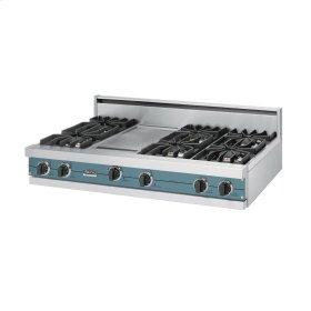 """Iridescent Blue 48"""" Sealed Burner Rangetop - VGRT (48"""" wide, six burners 12"""" wide griddle/simmer plate)"""
