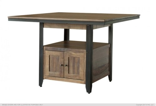 Wooden Counter Height Table, Central Cabinet with 2 doors