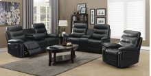 3pc Black Leather Motion Sofa Set