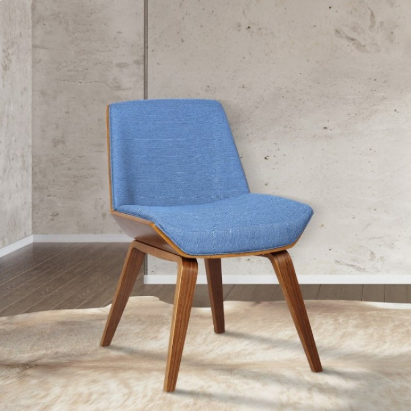 b1531d887e702 Armen Living Agi Mid-Century Side Chair in Blue Fabric with Walnut Wood  Finish