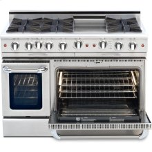 "48"" Gas Self Clean, Rotisserie, 6 Open Burners, 12"" Thermo-Griddle"