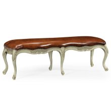 French Provincial Walnut Bench Leather