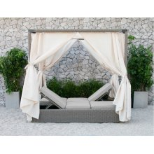 Renava Marin Outdoor Beige Canopy Sunbed