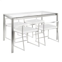 Fuji Dinette Set - Brushed Stainless Steel, Clear Glass, White Pu