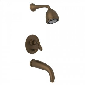English Bronze GEORGIAN ERA U.KIT660LS PRESSURE BALANCE SHOWER PACKAGE with Georgian Era Solid Metal Lever