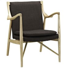 Makeshift Upholstered Fabric Lounge Chair in Natural Brown
