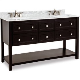 "60"" double vanity with sleek black finish and clean lines, and complementary satin nickel hardware with preassembled top and bowl."