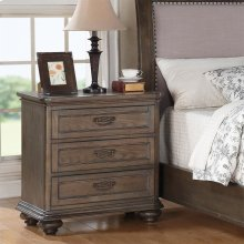 Belmeade - Three Drawer Nightstand - Old World Oak Finish