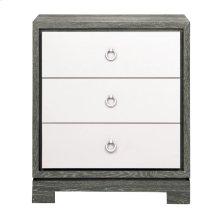 Berkeley 3-Drawer Side Table w/ Chrome Pulls, Gray