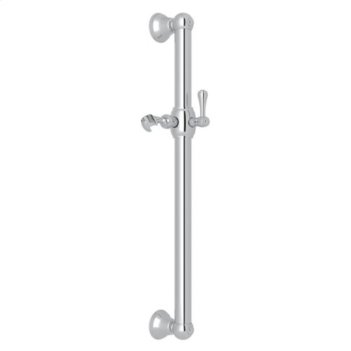 "Polished Chrome 24"" Decorative Grab Bar With Lever Handle Slider"