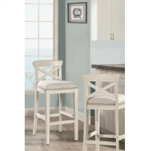 Bayview Wood X-back Non-swivel Bar Stool - White Wirebrush