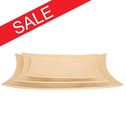 Cream Glaze w/ Crosshatch Detail Ceramic Plates - Set of 3