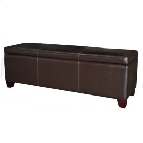 "Luisa Bonded Leather Storage Ottoman 54"", Brown"