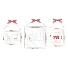 TY Berry Patch Framed Glass Wall Decor - Set of 3