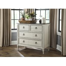 Rustic White Gray Top 4 Drawer Console