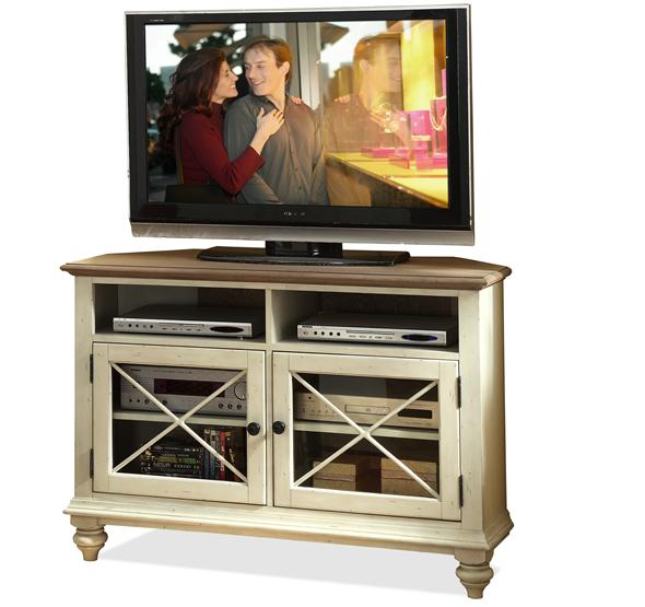 Beautiful Coventry Corner TV Console Weathrd Drftwd/Dover Whit Finish