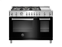 48 inch 6-Burner + Griddle, Gas Double Oven Black