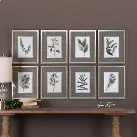 Sepia Gray Leaves Framed Prints, S/8