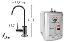 Hot Water Faucet with Contemporary Round Body & Handle & Little Gourmet® Premium Hot Water Tank - Brushed Nickel