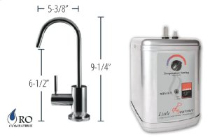 Hot Water Faucet with Contemporary Round Body & Handle & Little Gourmet® Premium Hot Water Tank - Brushed Nickel Product Image