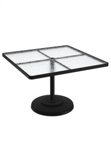 "Acrylic 42"" Square KD Pedestal Dining Umbrella Table"